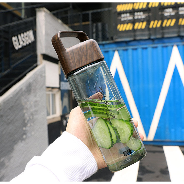Large Capacity Sport Water Bottle with Handle Plastic Drinking Bottle Portable 600ml Bottles Cup