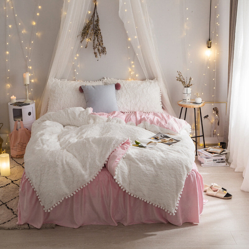 Bubble Velvet Solid Color Small Fresh Minimalist Bed Skirt Four-piece Winter Fur Velvet Thick