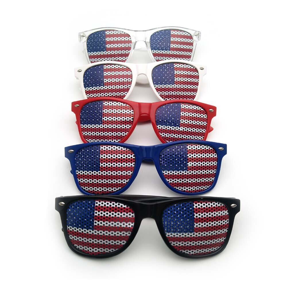 American Flag USA Patriotic Design Plastic Shutter Glasses Shades Sunglasses for Independence Day Party Decoration