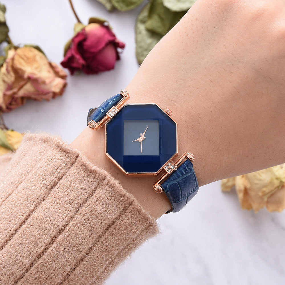 Trendy Diamond Mirror Quartz Watch PU Leather Women Wrist Watch Waterproof Watch