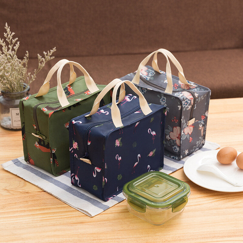 Portable Large Capacity Students School Thermal Lunch Box Bags Polyester Insulation Food Bag