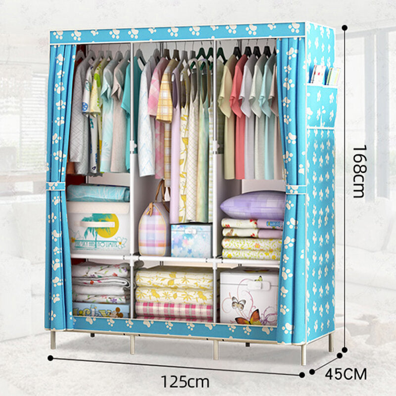 Large Canvas Fabric Wardrobe With Hanging Rail Clothes Shelves Storage Cupboard