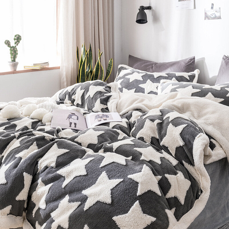 Flannel Winter Warm Bedding Set Full Queen King Duvet Quilt Cover Flitted Sheet Bed Sheet Pillowcase