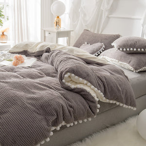 4Pcs Berber Fleece Double Side Dehair Angora Crystal Velvet Bedding Set Winter Queen King Quilt Cover Bed Sheet