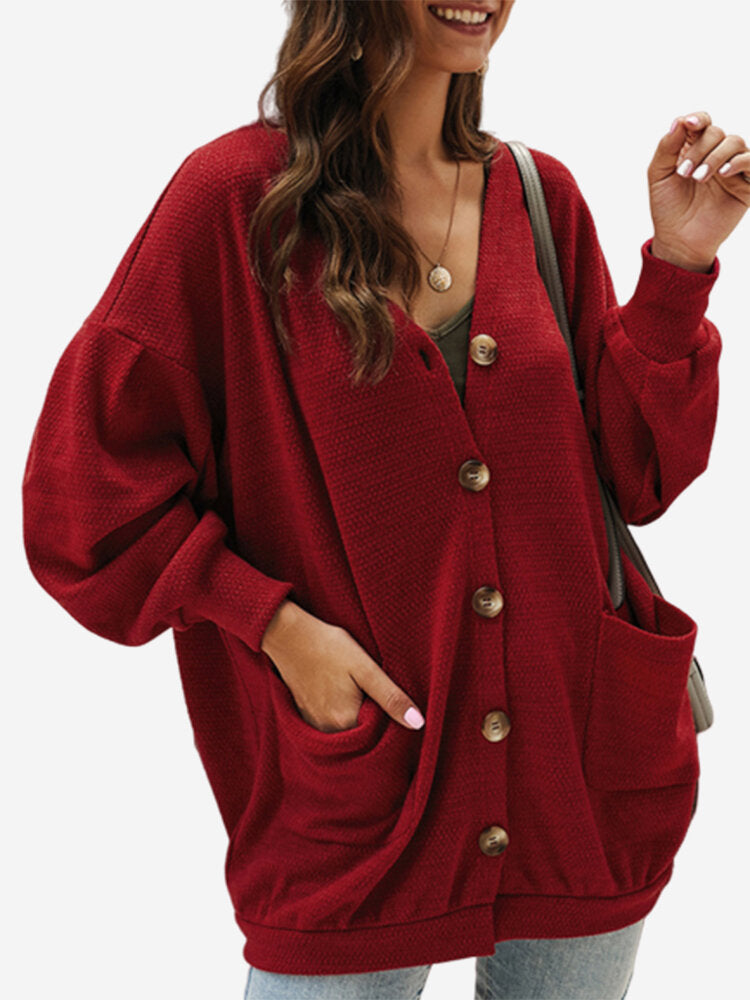 Button Pockets Long Sleeve Solid Color Cardigan For Women