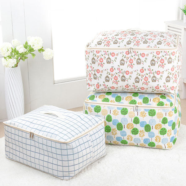 Cotton Quilts Divider Organizer High Capacity Folding Bamboo Bags Bed Under Closet