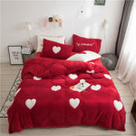 Heart Pattern Red White Blue Duvet Cover Set King Queen Twin Size Plush Heavyweigh Warm Winter Bedding Set Comforter Cover Sheet