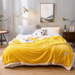 200x230cm Double-sided Thicken Corduroy Fleece Winter Blanket Solid Color Quilt Home Soft Bedding