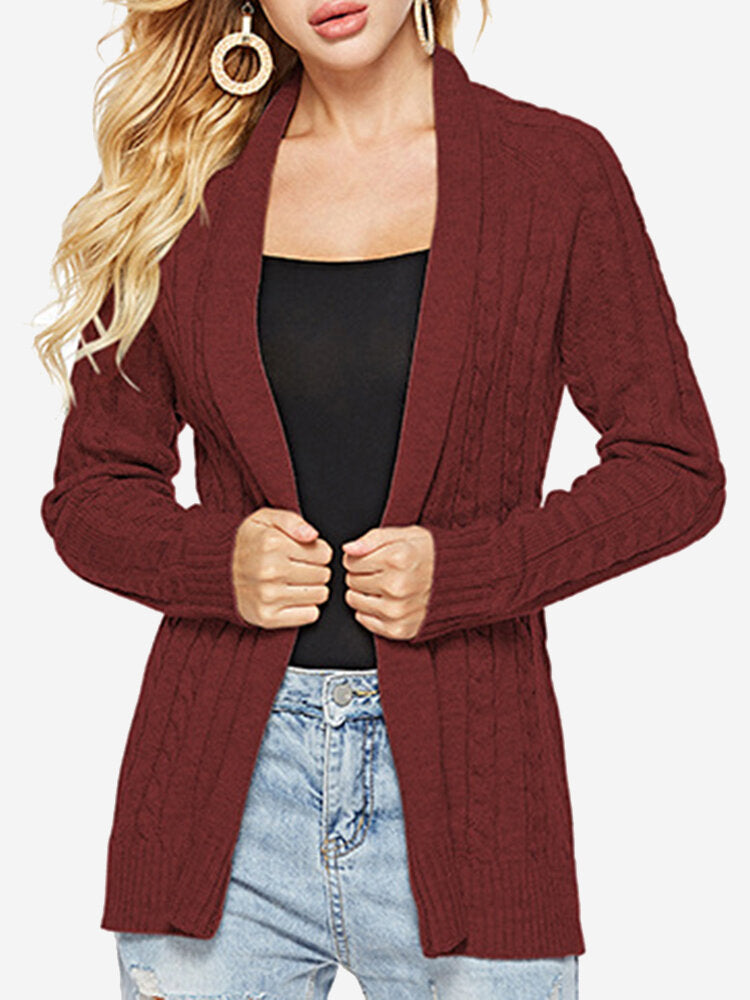 Knit Twisted Solid Color Mid Length Cardigan
