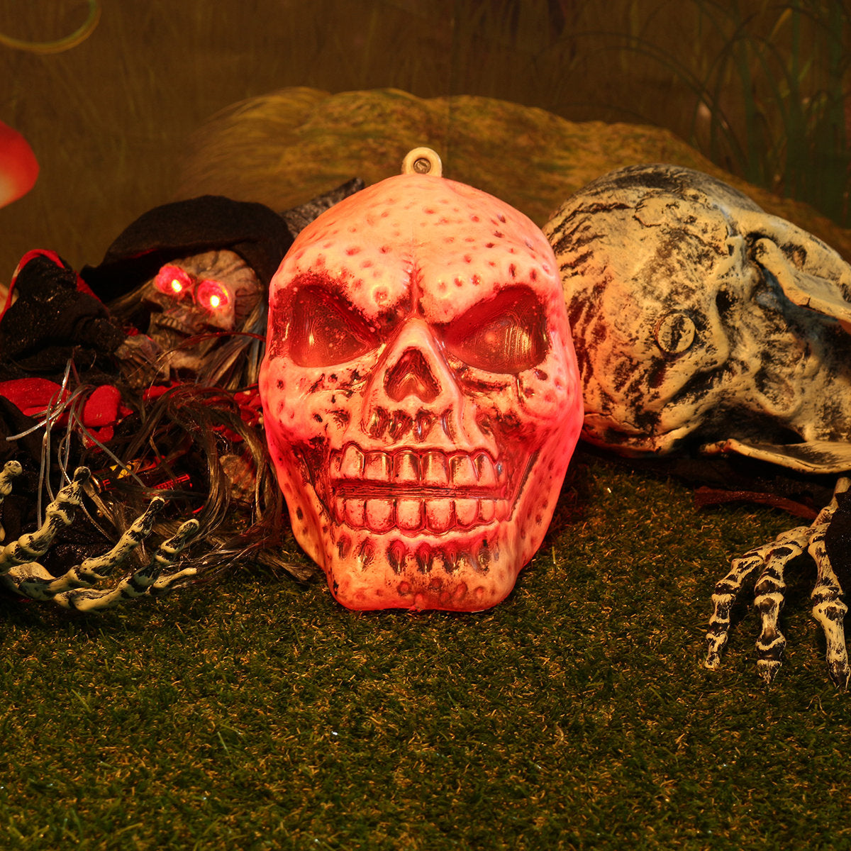 Halloween Decoration Props Sound Simulation Luminous Plastic Big Skull Ornaments