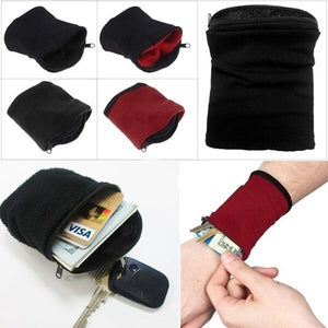 EDC Wrist Wallet Pouch Band Fleece Zipper Running Travel Gym Cycling Safe Sport Wrist Wallet