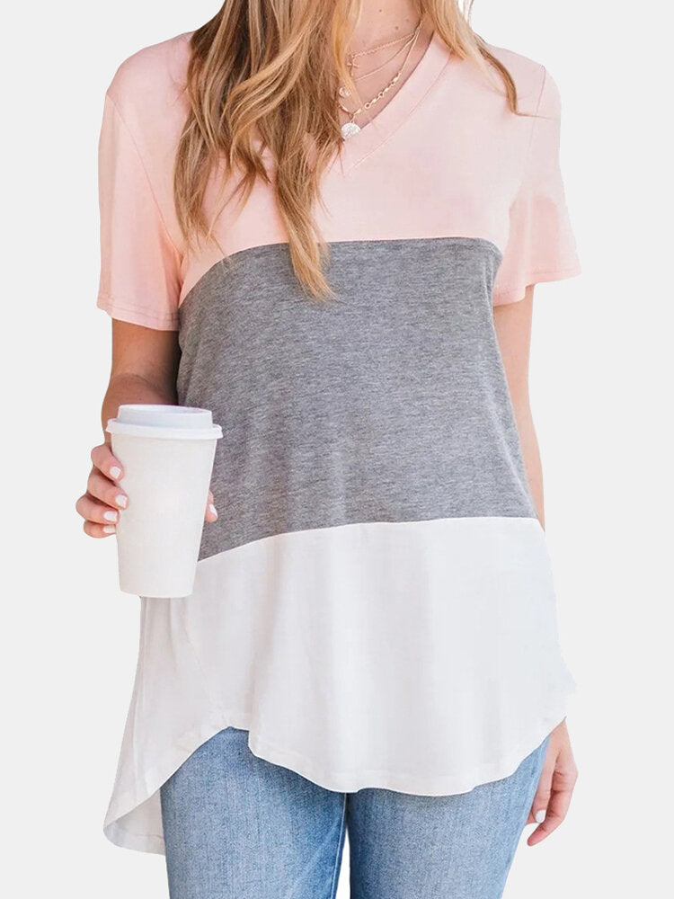 Contrast Color Short Sleeve V-neck Asymmetrical T-shirt For Women