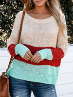 Striped Contrast Color Long Sleeve O-neck Sweater For Women
