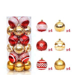 24pcs Bauble Set Christmas Hanging Ball Ornaments