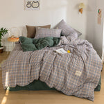 Simple Nordic Plaid Four-piece Bedding Bed Linen Skin-friendly Quilt Cover