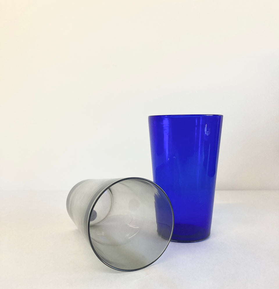 Pair of Pint Glasses (blue and gray)