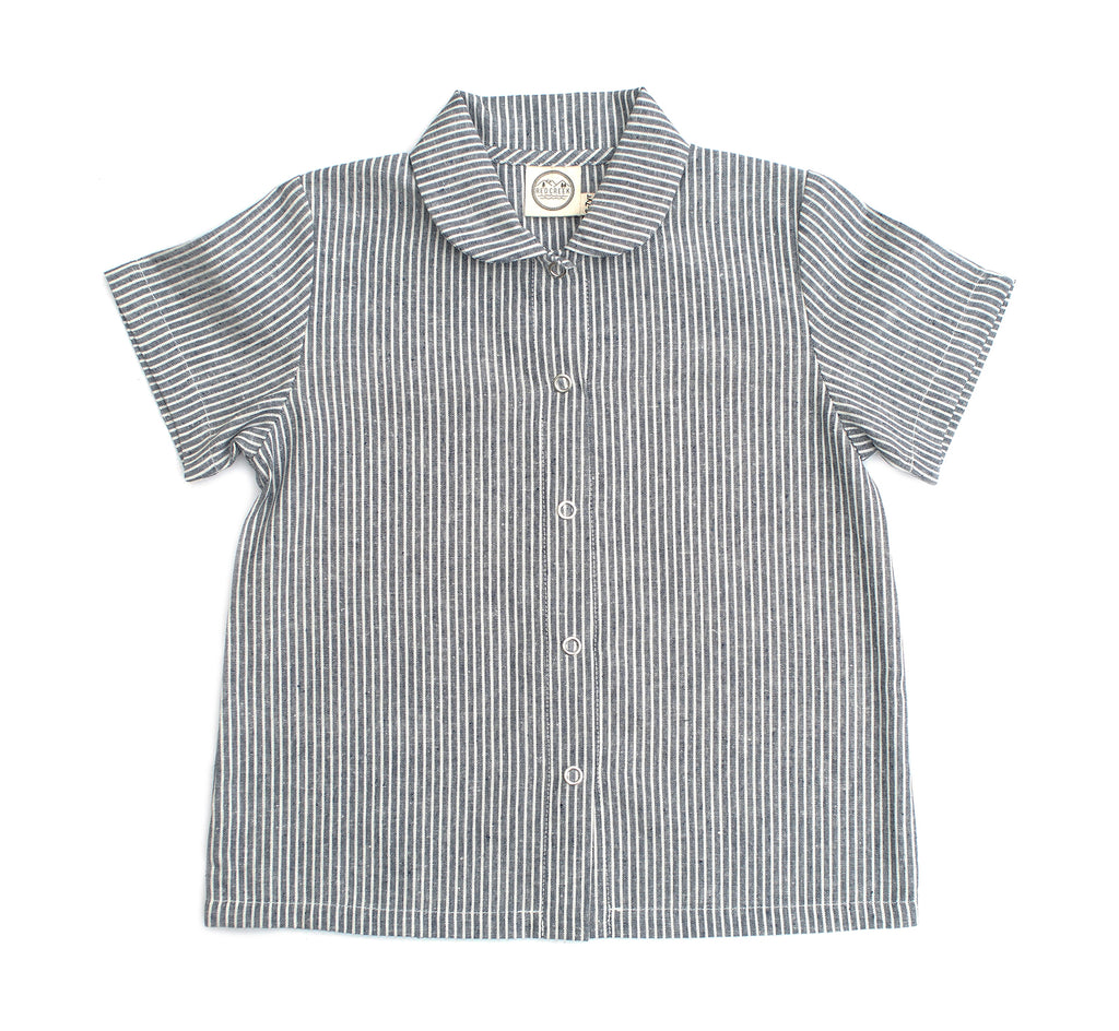 SHORT SLEEVE WORK SHIRT, RAILWAY STRIPES