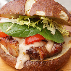 Jalapeno burger with bacon