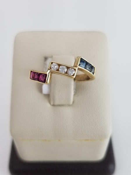 14K Yellow Gold Red, White, and Blue Ring