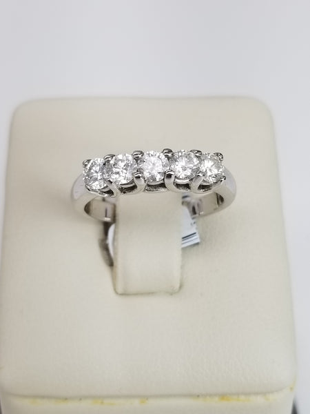 18K White Gold Five Diamond Ring
