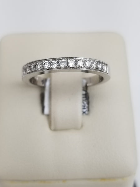 18K White Gold Half Band Diamond Ring