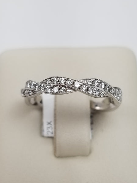 18K White Gold Braided Diamond Eternity Ring