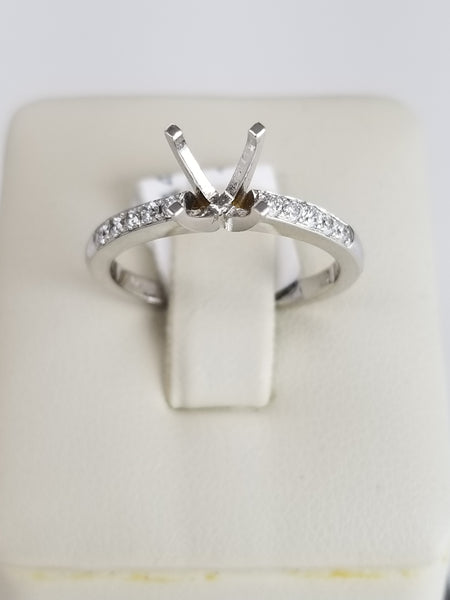 14K White Gold Four Prong Diamond Engagement Ring
