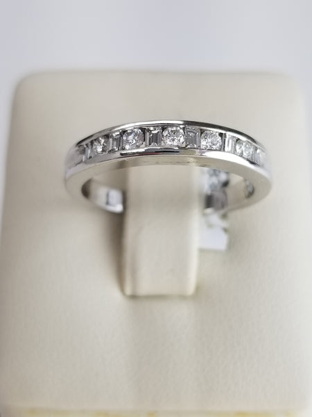 14K White Gold Diamond Half Band Ring