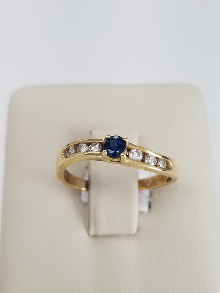 14K Yellow Gold Sapphire and Diamond Wave Ring