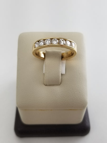 14K Yellow Gold Seven Diamond Ring