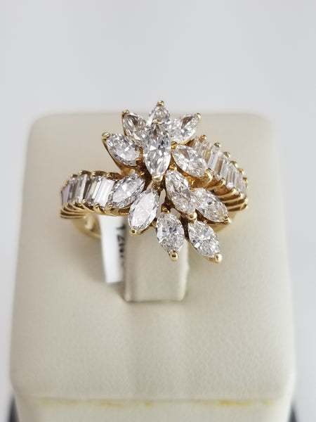 14K Yellow Gold Flower Diamond Ring