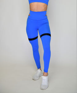 Women's Performance Stretch Bottoms With Waist Cutout | Flirty Premium Leggings  | Princess Blue