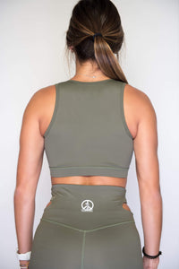 Women's Sports Bra | Full Coverage Crop Style Sporty Top | Terrarium Moss