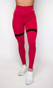Women's Performance Extra Stretch Bottoms With Waist Cutout | Flirty Premium Leggings  | Jester Red
