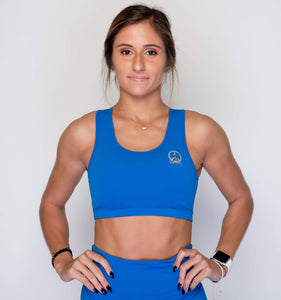 Women's Sports Bra | Full Coverage Crop Style Sporty Top | Princess Blue