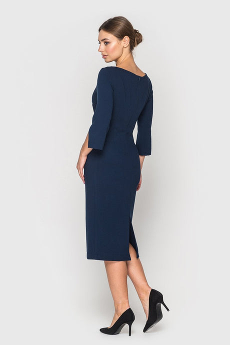 Elegant day dress AUDREY in dark blue