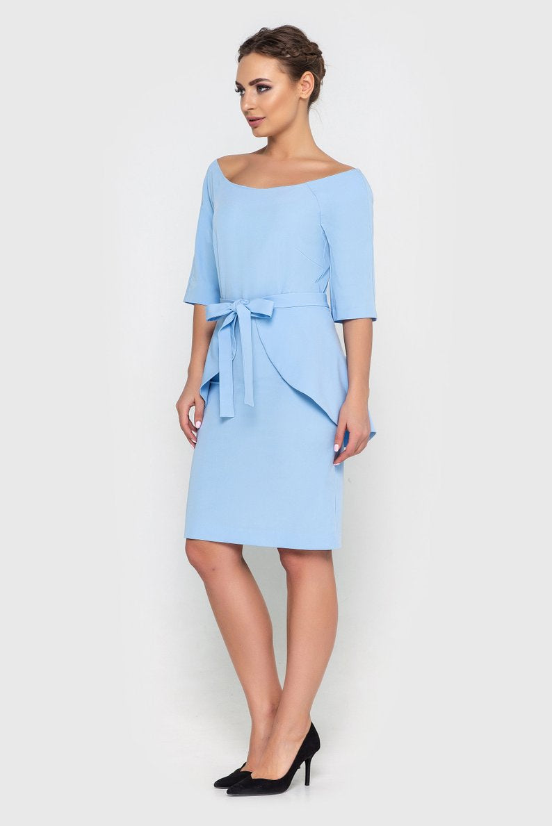 Business Kleid KIM in Baby Blau / Hellblau