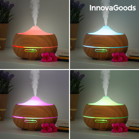 Image of Humidificateur Diffuseur d'Arômes LED Wooden-Effect InnovaGoods