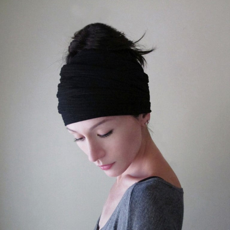 EcoShag BLACK Ribbed Knit Head Scarf