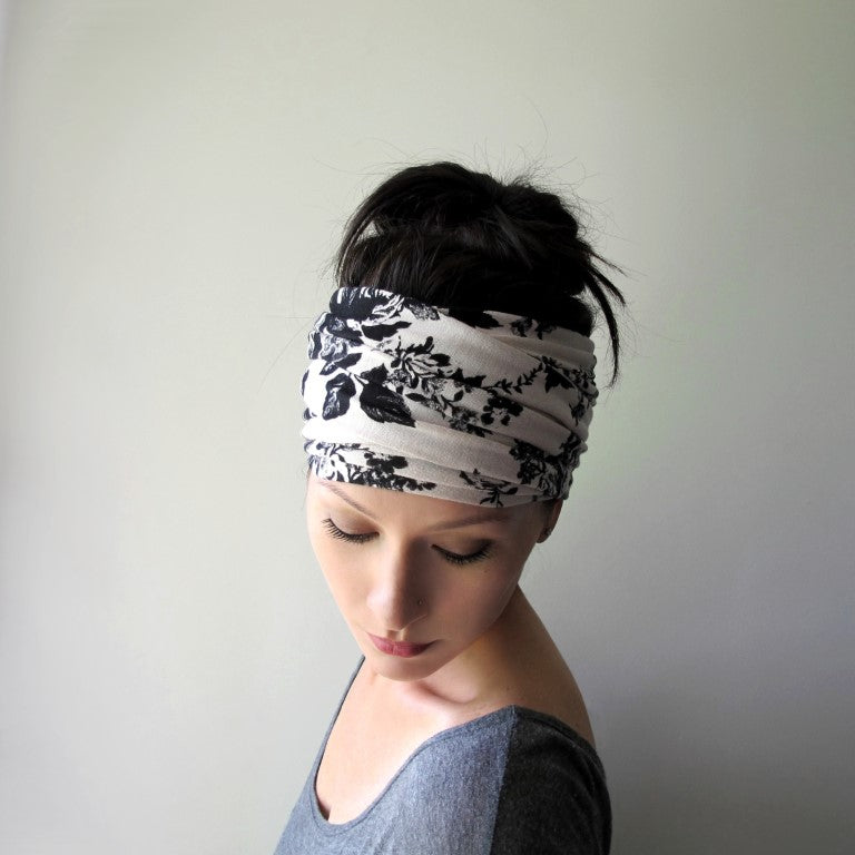 EcoShag Black and Antique White Floral Head Scarf