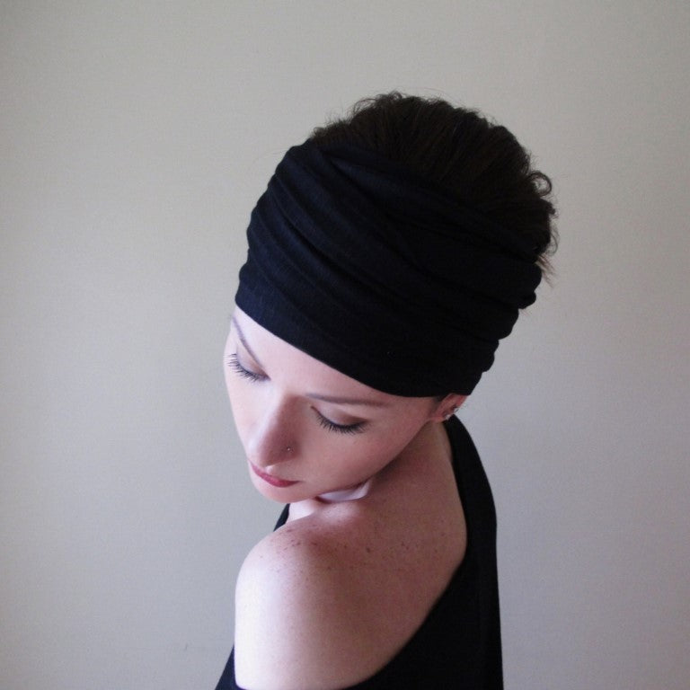 ecoshag black jersey extra wide headband