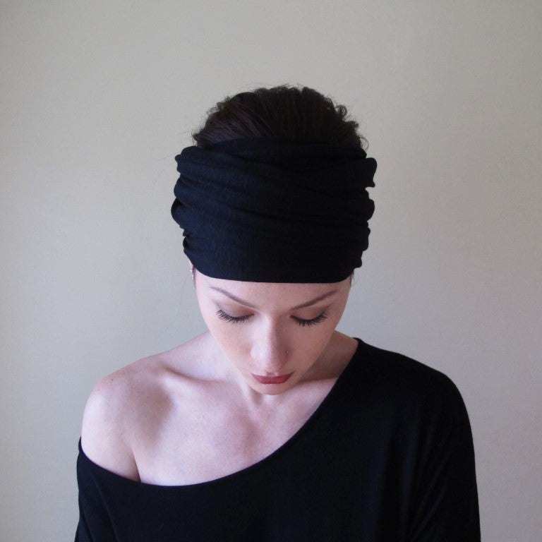 ecoshag black jersey yoga headband
