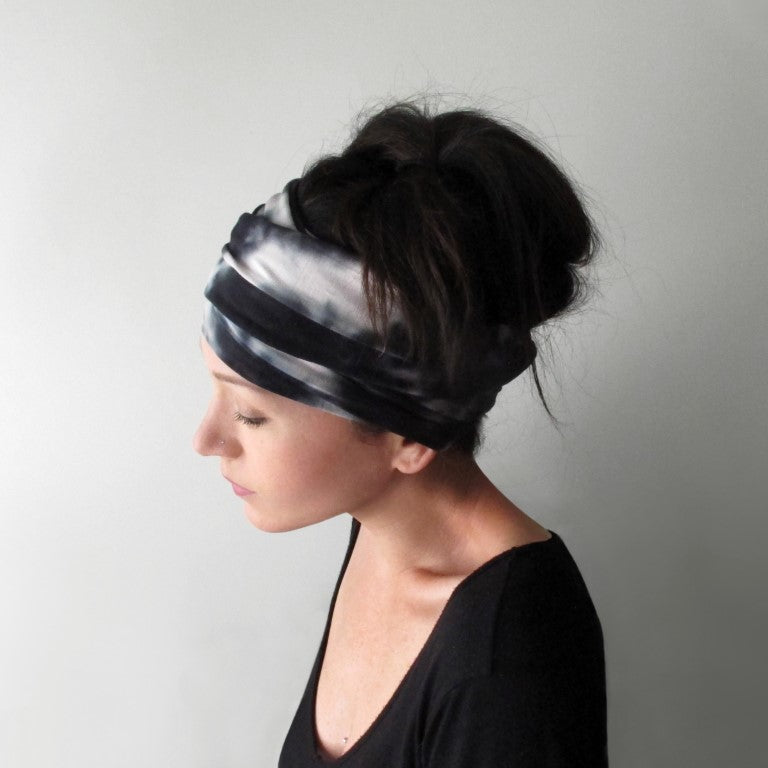 black and white tie dye head scarf