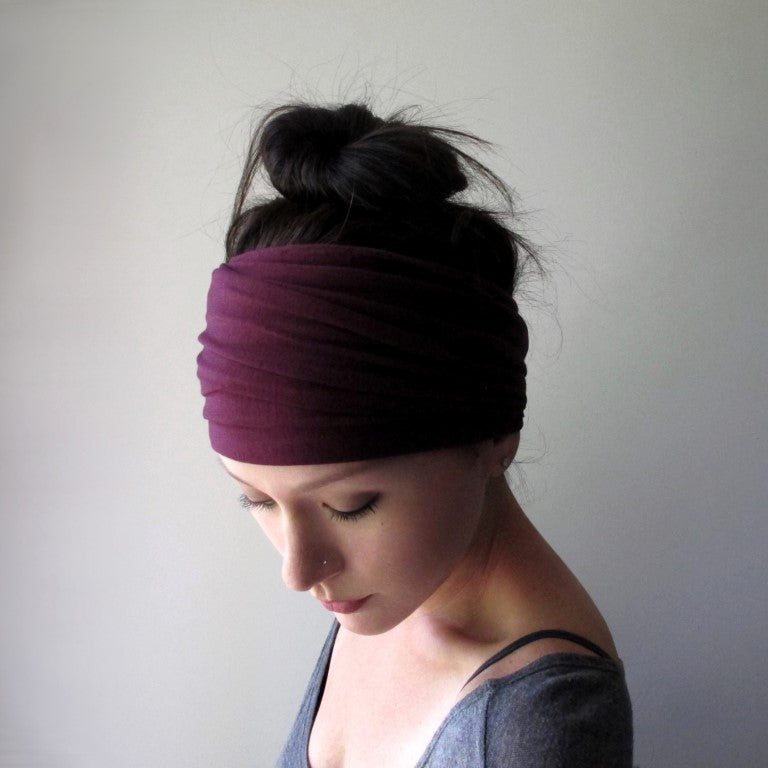 burgundy ecoshag jersey extra wide headbands for women