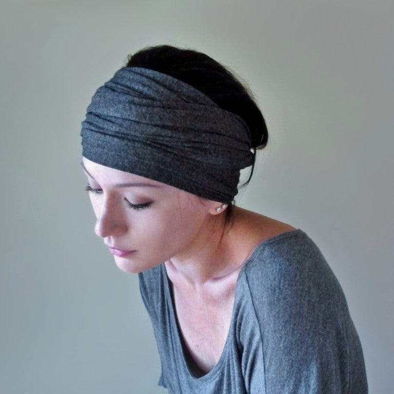 charcoal gray ecoshag jersey headbands for women
