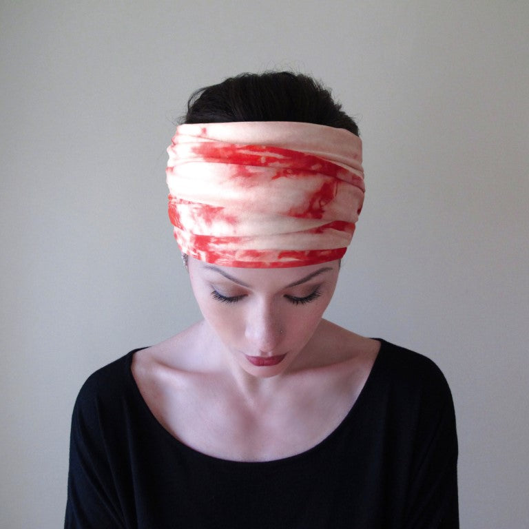 ecoshag coral tie dye jersey boho head scarf for women