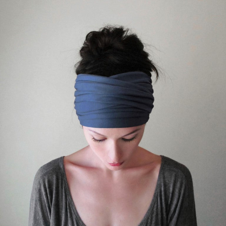 dark cornflower blue ecoshag jersey boho head scarf