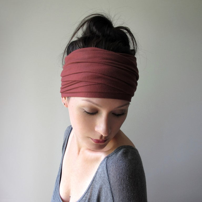 ecoshag dark red clay jersey headbands for women