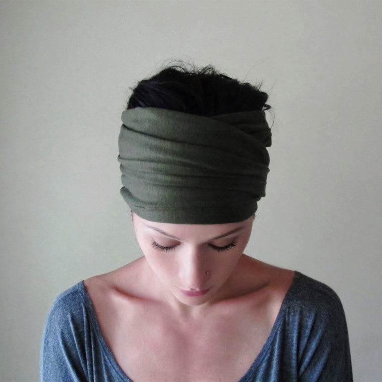 ecoshag dark moss green head scarf