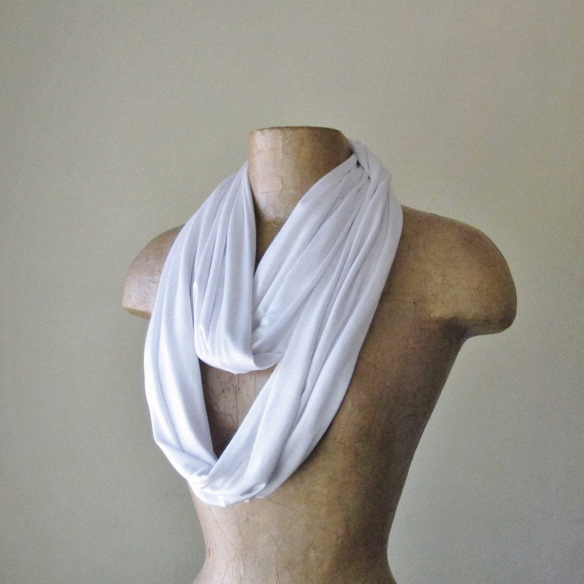 white ecoshag jersey knit infinity scarf for women